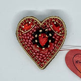 Kunda Art Beaded Pin Red Stones Heart