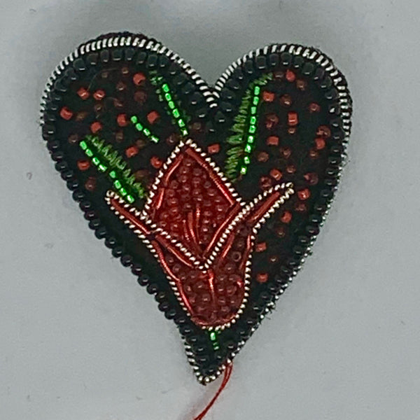 Kunda Art Embroidered Pin Red Tulip Heart
