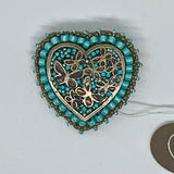 Kunda Art Beaded Pin Turquoise Coloured Beads with Bronze Butterfly Heart