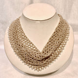 Dauna Louise Beaded Kerchief Necklace Neutrals Large