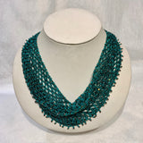 Dauna Louise Beaded Kerchief Necklace Jewel Tones Large