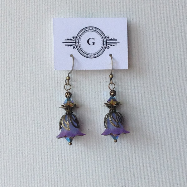 Gaby Lily Bells Lucite Earrings Light and Dark Purple with Brass
