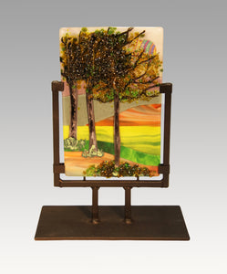 A Stroll in the Country Fused Glass Panel