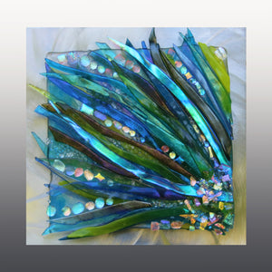 Floating Sea Grass Fused Glass Mounted  Panel