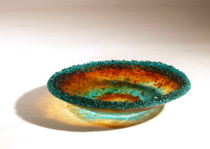 Fused Glass Amber Bowl