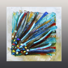 Load image into Gallery viewer, Colorful Rays Fused Glass Mounted Panel