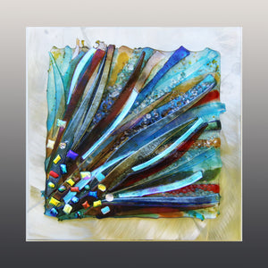 Colorful Rays Fused Glass Mounted Panel