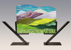 Dichroic Mountains  Fused Glass Panel