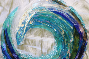 Crashing Wave Fused Glass Mounted Panel