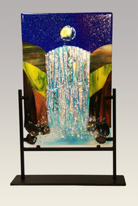 Cascading Waterfall Fused Glass Panel