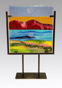 Magenta Mounrtain Fused Glass Panel