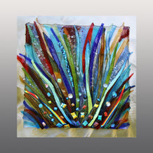 Load image into Gallery viewer, Mardi Gras Fused Glass  Mounted Panel
