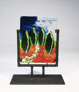Poplars Fused Glass Panel