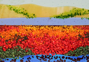 Glorious Poppies Field Fused Glass Panel