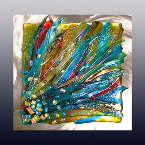 Bursting Fused Glass Mounted Panel