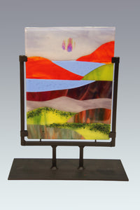 Country Scene with Red Mountains Fused Glass Panel