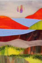 Load image into Gallery viewer, Country Scene with Red Mountains Fused Glass Panel