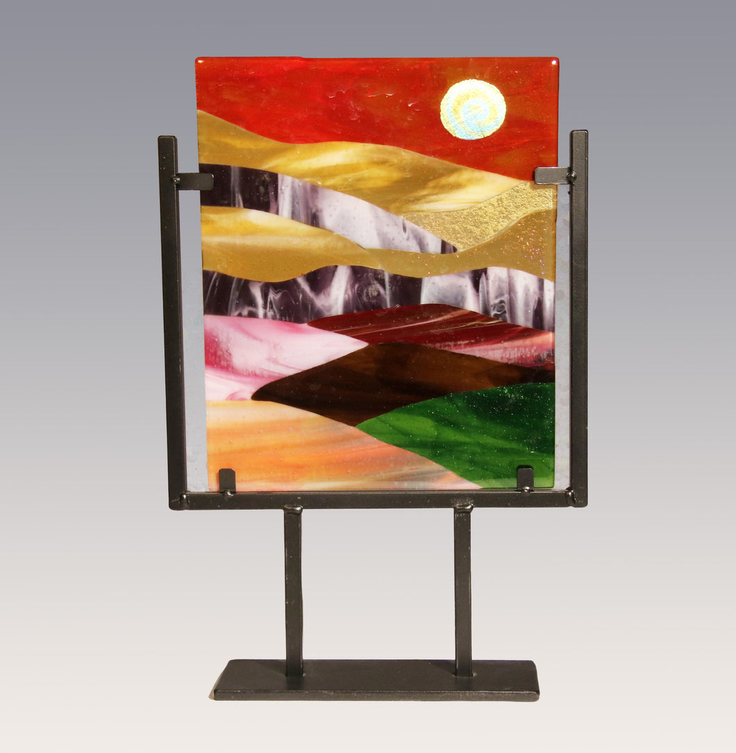 Red Sky Fused Glass Panel