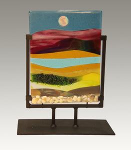 Along a Rocky Road Fused Glass Panel