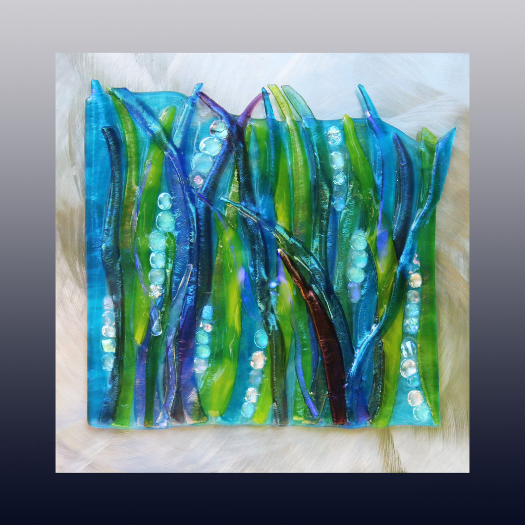 Flowing Sea Grass  Fused Glass Mounted Panel
