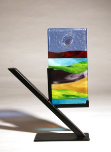 Abstract Scene with Shiny Sun Fused Glass Panel