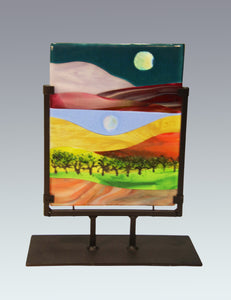 A Lovely Day in the Country Fused Glass Panel