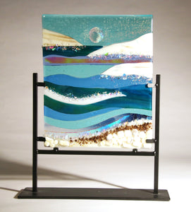 A  Day at the Ocean Fused Glass Panel