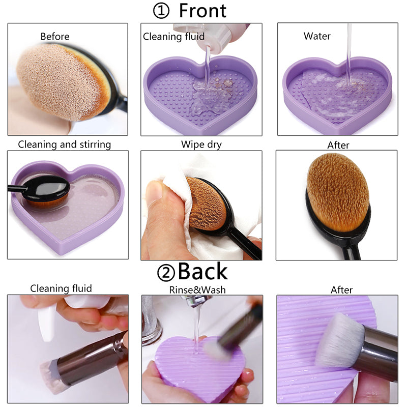 Miss Gorgeous Rose Red Heart-shaped Silicone Makeup Brush Cleaner