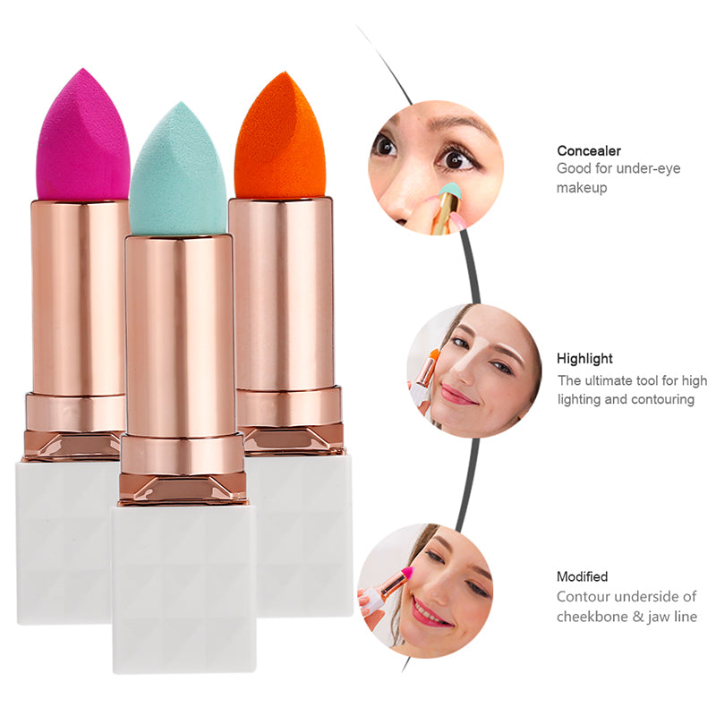 Miss Gorgeous lipstick tube style puff (orange/green/rose red)