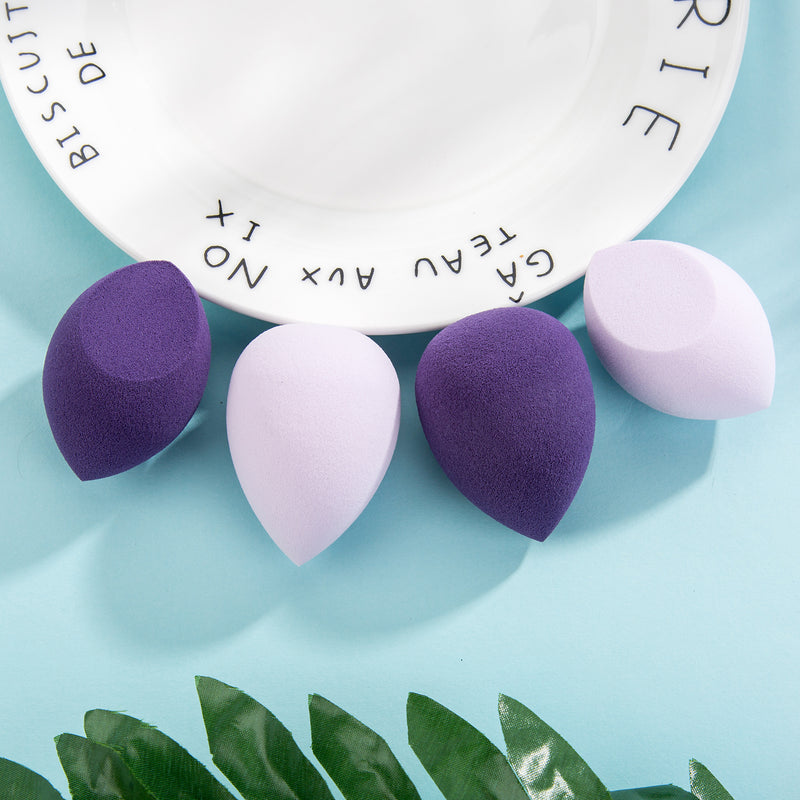 Miss Gorgeous Purple Four Packs Puffs With Box(2*Water drops,2*Bevel)