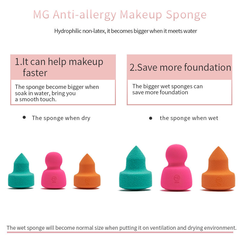 Miss Gorgeous anti-allergy green pointed makeup remover & rose red round sponge & orange pointed sponge