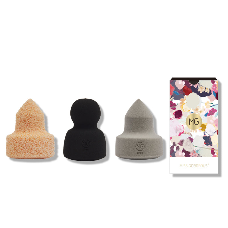 Miss Gorgeous anti-allergy beige pointed makeup remover & black round sponge & gray pointed sponge