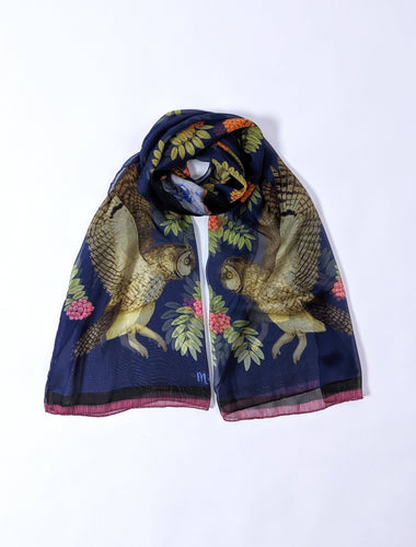 Owl and Rowan Berries Silk Scarf Shawl