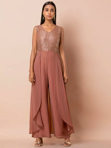 Rose Pink Embellished Layered Jumpsuit