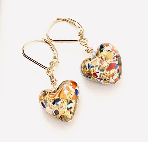 Gold Klimt Inspired Heart Earrings