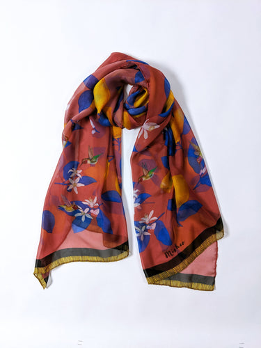 Hummingbirds and Lemons Silk Scarf Shawl Red