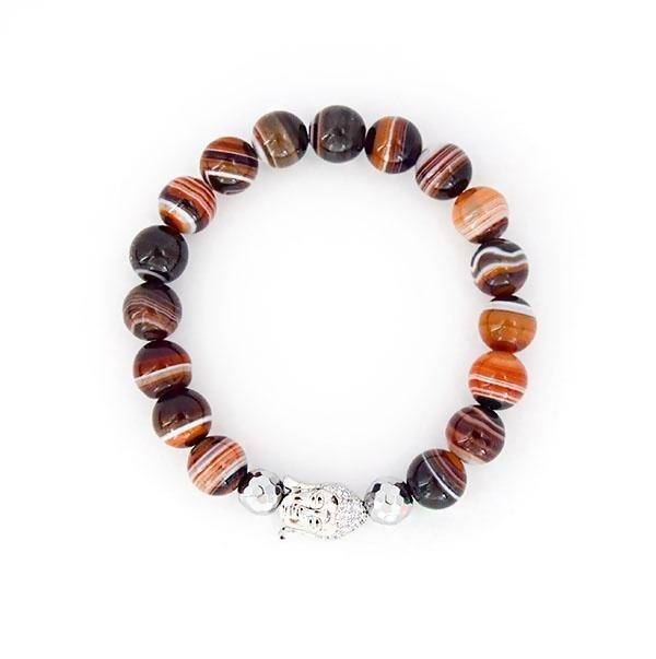 The Earth Element - Madagascar Banded Silk Agate Stretch Bracelet