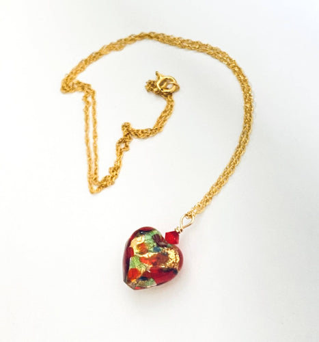 Red Murano Heart Necklace