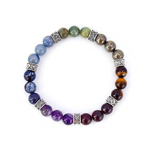 7 Chakra Alignment 7 Gemstones Stretch Bracelet