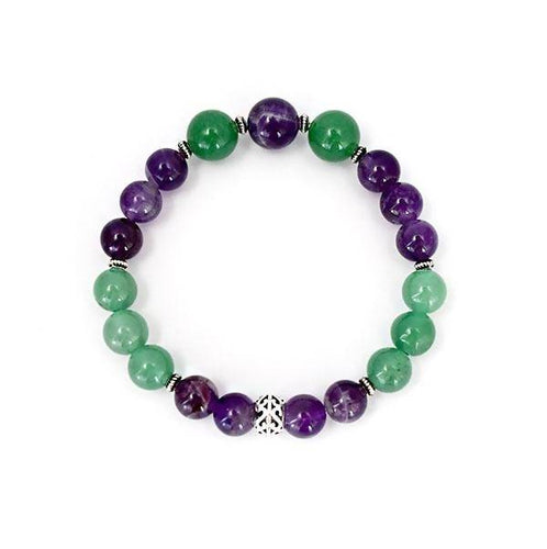 Inner Healing and Good Luck - Amethyst and Aventurine Stretch Bracelet