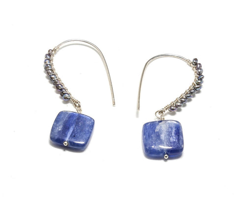 Kyanite or Fresh Water Pearl Drop Earring