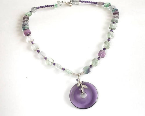 Amethyst and Flourite Pendant Necklace