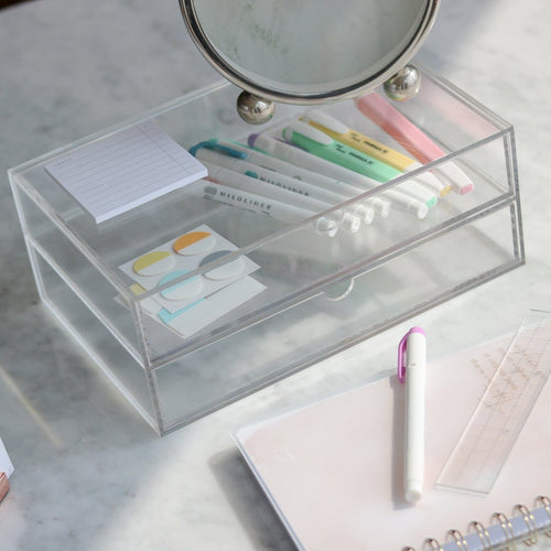 Acrylic 2 drawers storage box