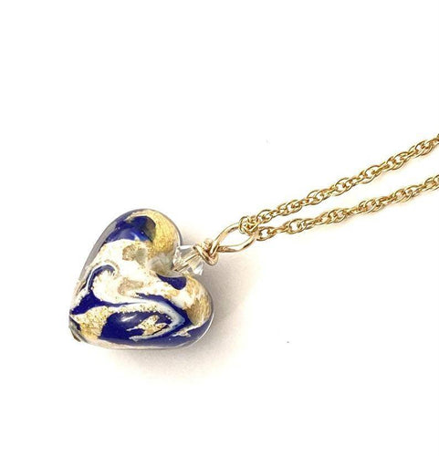 Blue Marbled White Murano Heart