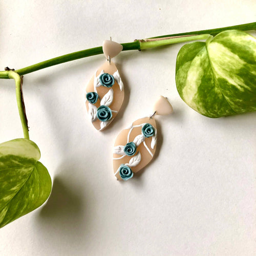 Blooming Blue Collection Polymer Clay Earrings