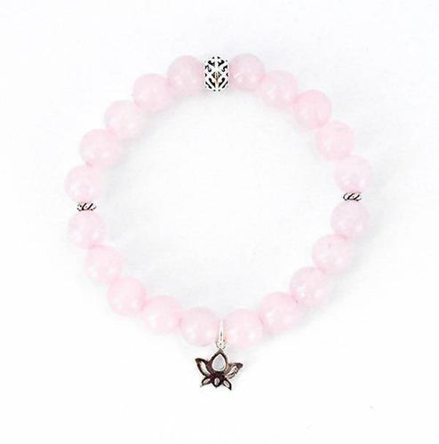 Heart Chakra Balancing Rose Quartz and Sterling Silver Stretch Bracelet