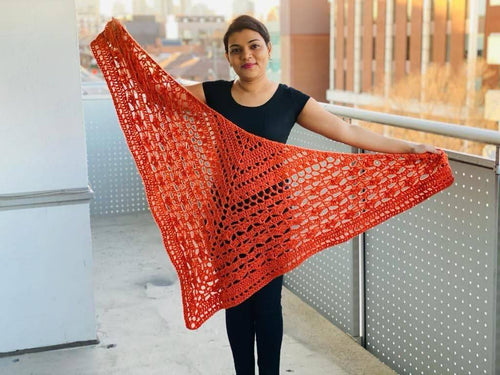 Orange Triangle Statement Shawl | Elegant Shawl