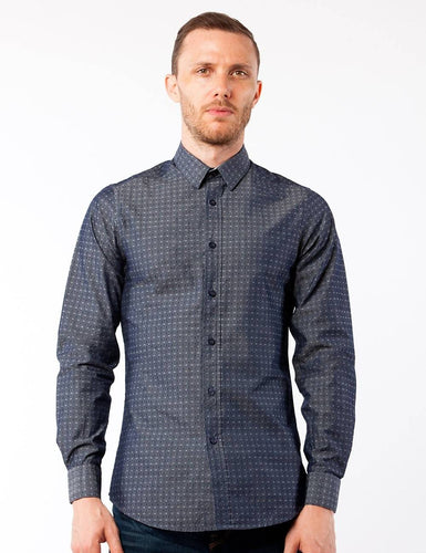 Gunmetal Dotted Dress Shirt