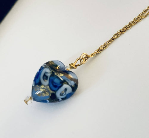 Blue Rose Murano Glass Heart Necklace