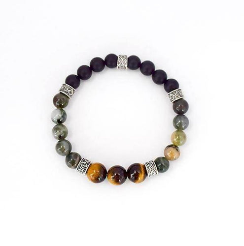 Good Fortune and Positive Energy - Tiger's Eye, African Jade and Frosted Black Onyx Stretch Bracelet